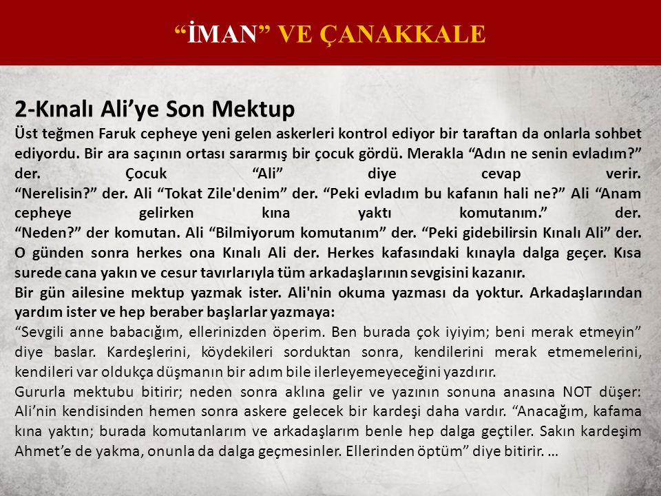 2-Kınalı Ali'ye Son Mektup