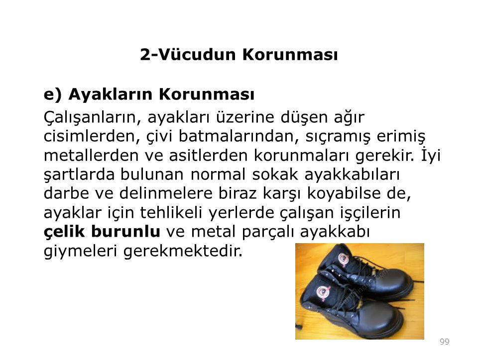2-Vücudun Korunması e) Ayakların Korunması.