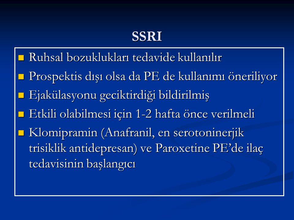 SSRI Ruhsal bozuklukları tedavide kullanılır