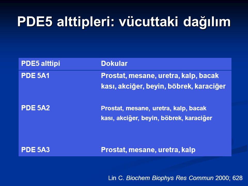 PDE5 alttipleri: vücuttaki dağılım