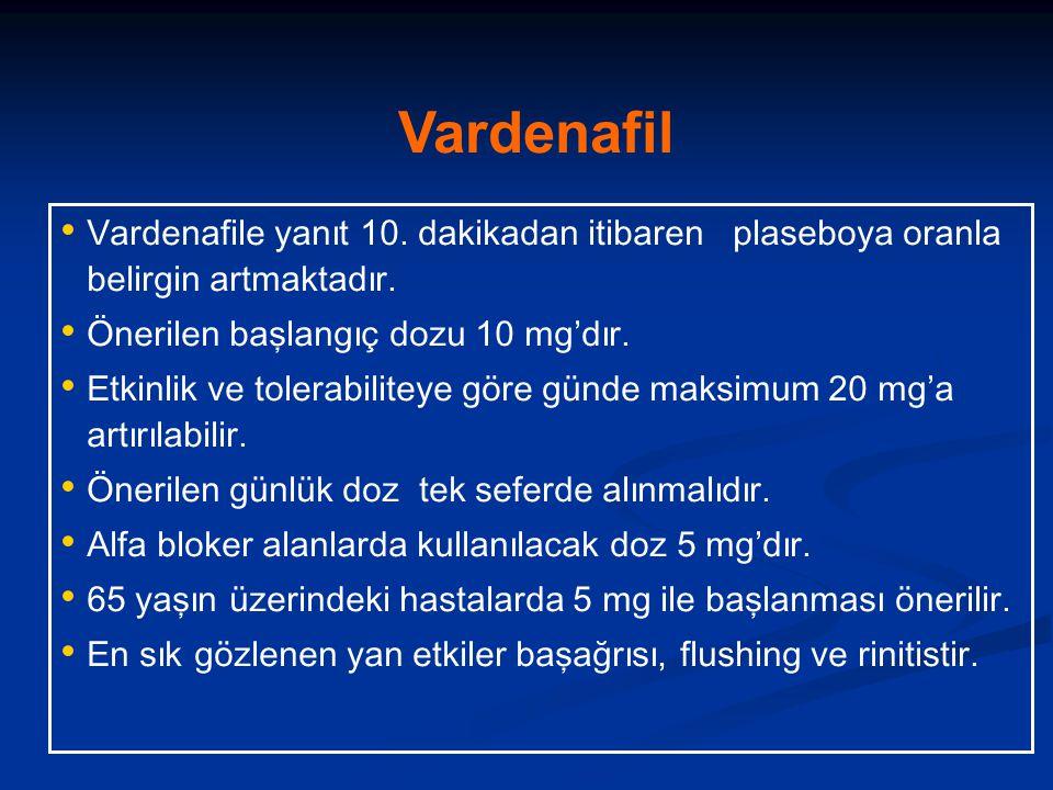 Vardenafil Vardenafile yanıt 10. dakikadan itibaren plaseboya oranla belirgin artmaktadır. Önerilen başlangıç dozu 10 mg'dır.