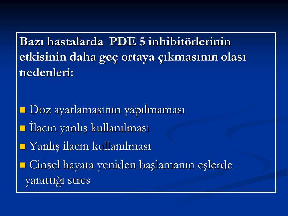 Bazı hastalarda PDE 5 inhibitörlerinin etkisinin daha geç ortaya çıkmasının olası nedenleri: