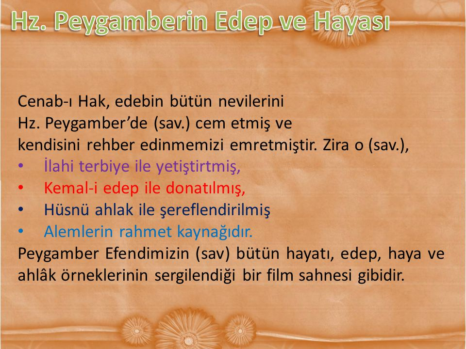 Hz. Peygamberin Edep ve Hayası