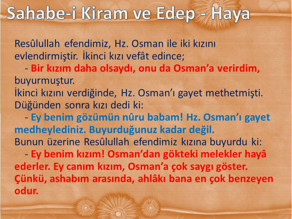 Sahabe-i Kiram ve Edep - Haya
