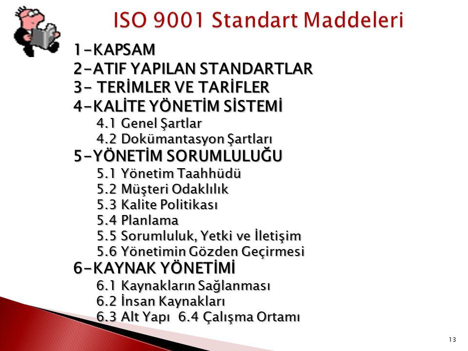 ISO 9001 Standart Maddeleri