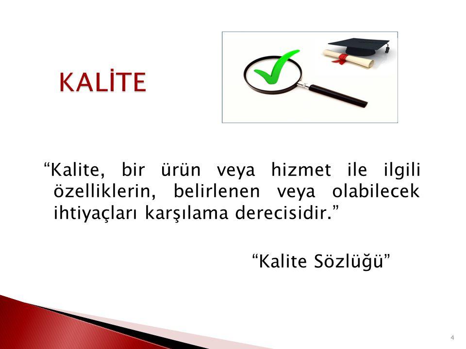 KALİTE Kalite, bir ürün veya hizmet ile ilgili özelliklerin, belirlenen veya olabilecek ihtiyaçları karşılama derecisidir. Kalite Sözlüğü