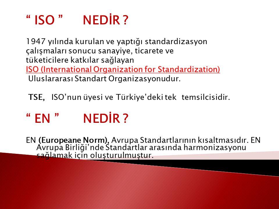 ISO NEDİR 1947 yılında kurulan ve yaptığı standardizasyon. çalışmaları sonucu sanayiye, ticarete ve.