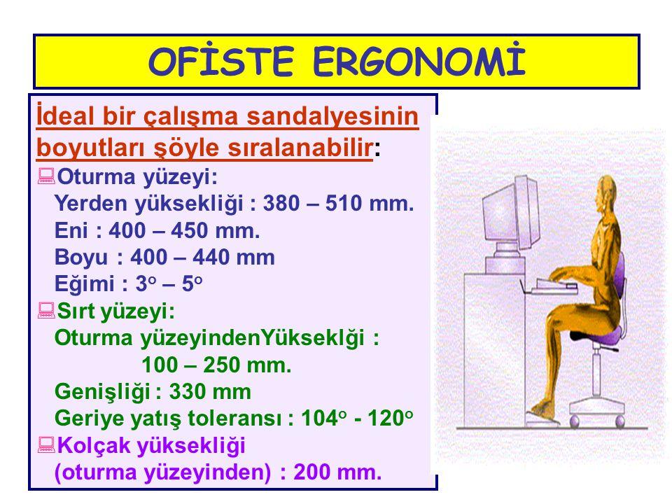 OFİSTE ERGONOMİ İdeal bir çalışma sandalyesinin boyutları şöyle sıralanabilir: Oturma yüzeyi: Yerden yüksekliği : 380 – 510 mm.