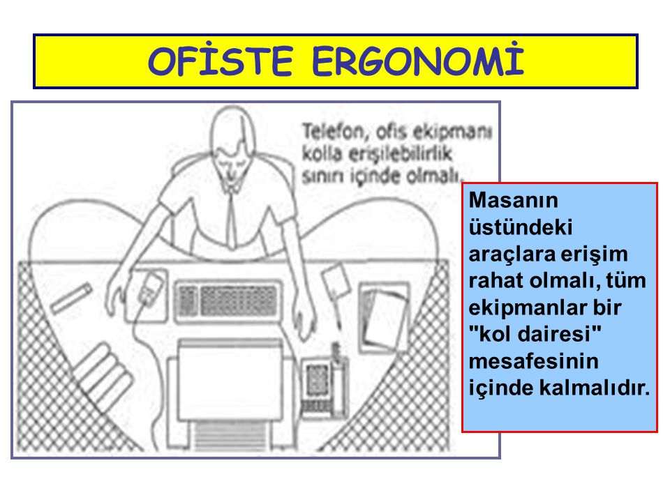 OFİSTE ERGONOMİ Masanın üstündeki araçlara erişim rahat olmalı, tüm ekipmanlar bir kol dairesi mesafesinin içinde kalmalıdır.