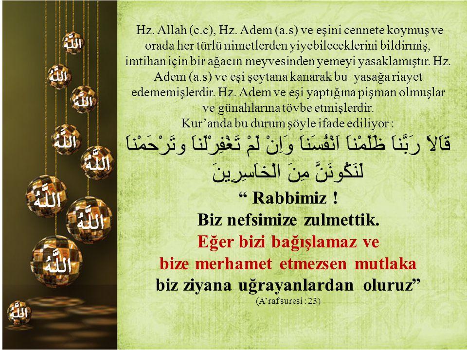 Hz. Allah (c.c), Hz. Adem (a.s) ve eşini cennete koymuş ve orada her türlü nimetlerden yiyebileceklerini bildirmiş, imtihan için bir ağacın meyvesinden yemeyi yasaklamıştır. Hz. Adem (a.s) ve eşi şeytana kanarak bu yasağa riayet edememişlerdir. Hz. Adem ve eşi yaptığına pişman olmuşlar ve günahlarına tövbe etmişlerdir.