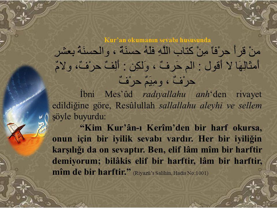 Kur'an okumanın sevabı hususunda