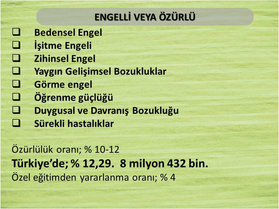 Türkiye'de; % 12,29. 8 milyon 432 bin.