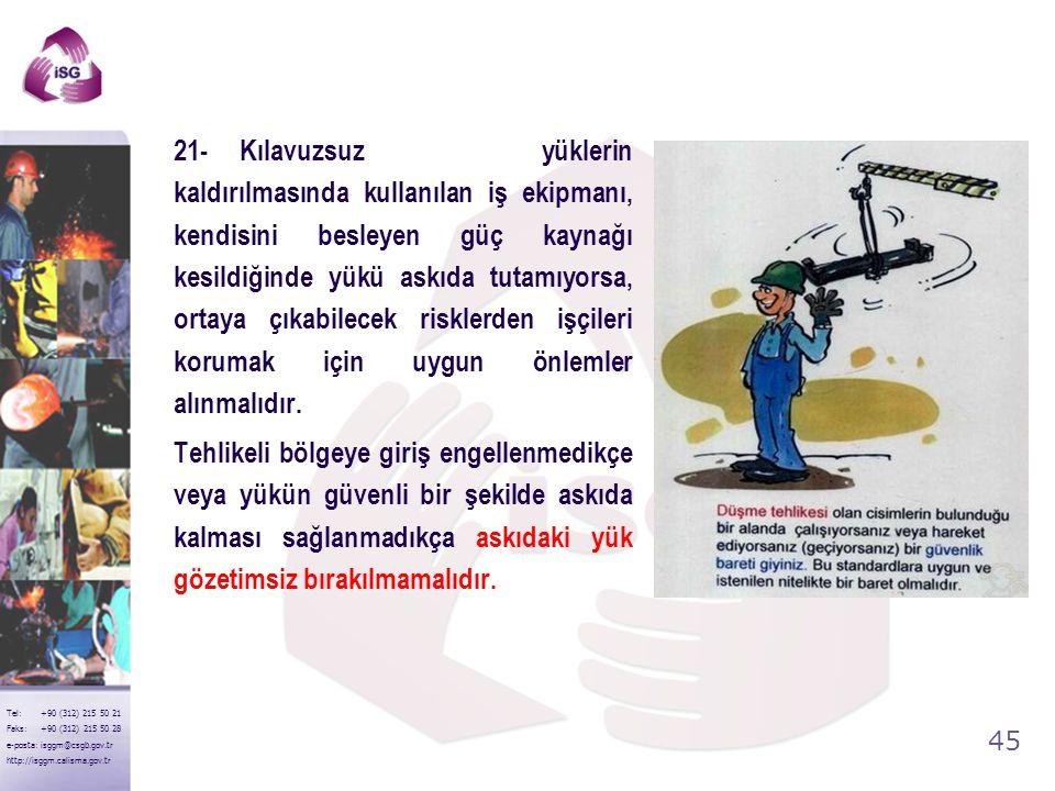 21- Kılavuzsuz yüklerin kaldırılmasında kullanılan iş ekipmanı, kendisini besleyen güç kaynağı kesildiğinde yükü askıda tutamıyorsa, ortaya çıkabilecek risklerden işçileri korumak için uygun önlemler alınmalıdır.