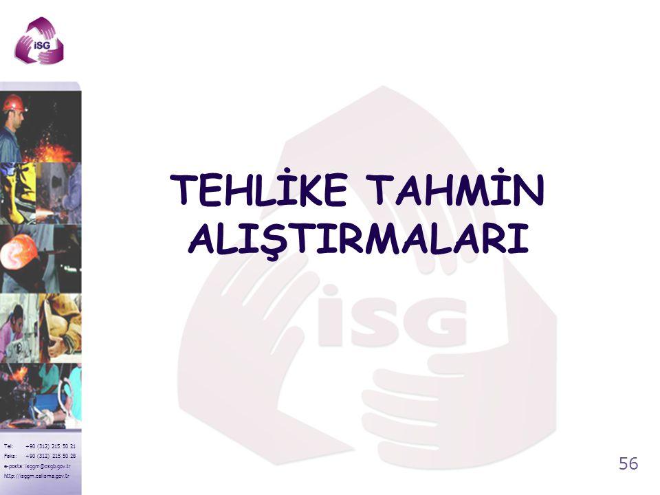 TEHLİKE TAHMİN ALIŞTIRMALARI