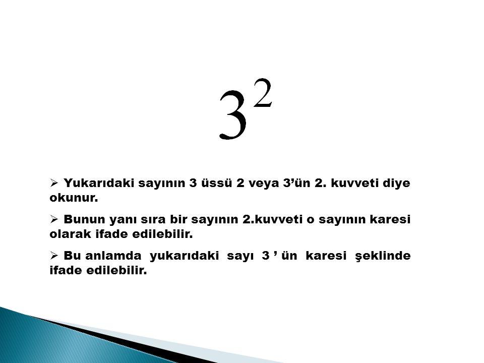 Yukarıdaki sayının 3 üssü 2 veya 3'ün 2. kuvveti diye okunur.