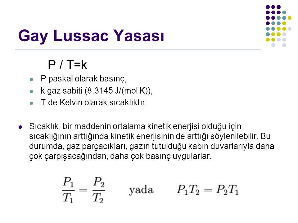Gay Lussac Yasası P / T=k P paskal olarak basınç,