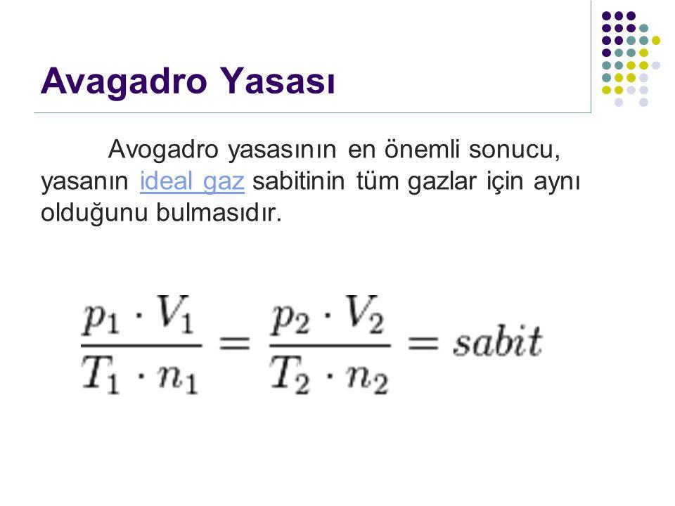 Avagadro Yasası Avogadro yasasının en önemli sonucu, yasanın ideal gaz sabitinin tüm gazlar için aynı olduğunu bulmasıdır.