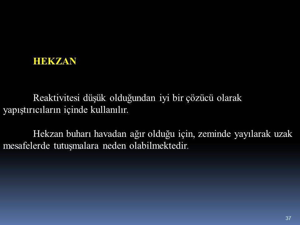 HEKZAN Reaktivitesi düşük olduğundan iyi bir çözücü olarak yapıştırıcıların içinde kullanılır.