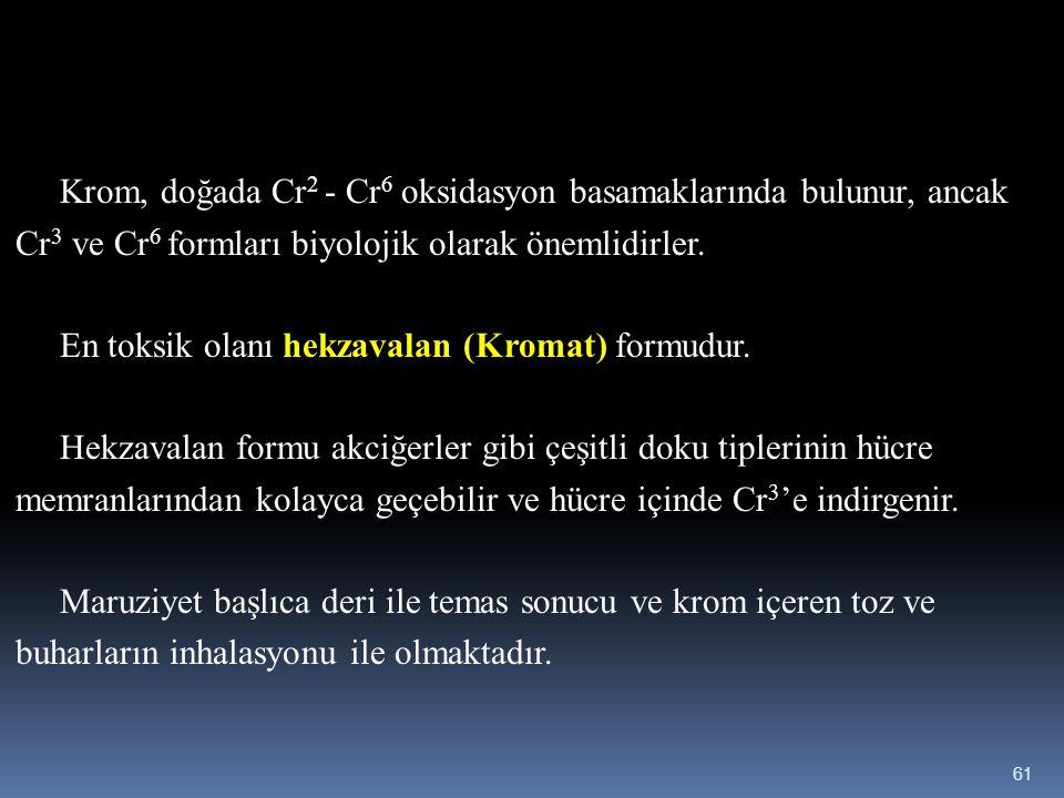 Krom, doğada Cr2 - Cr6 oksidasyon basamaklarında bulunur, ancak