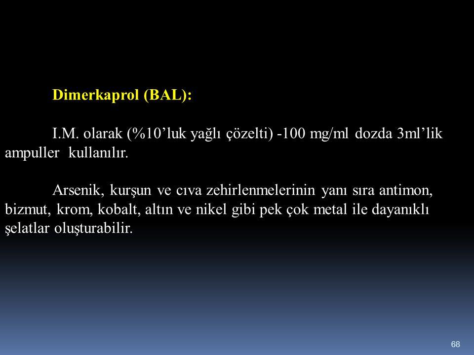 Dimerkaprol (BAL): I.M. olarak (%10'luk yağlı çözelti) -100 mg/ml dozda 3ml'lik ampuller kullanılır.