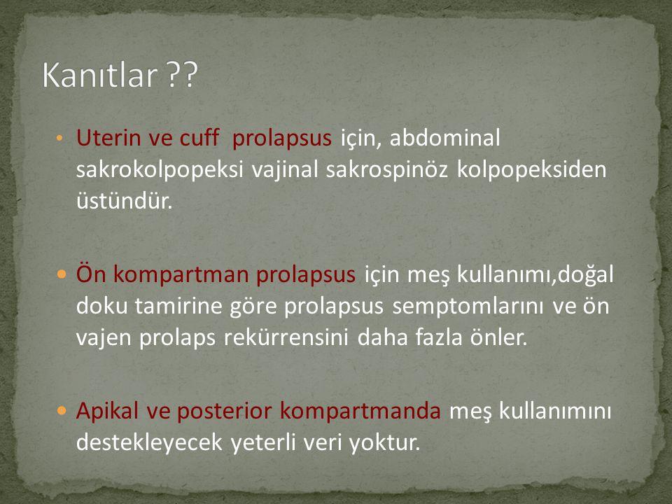 Kanıtlar Uterin ve cuff prolapsus için, abdominal sakrokolpopeksi vajinal sakrospinöz kolpopeksiden üstündür.