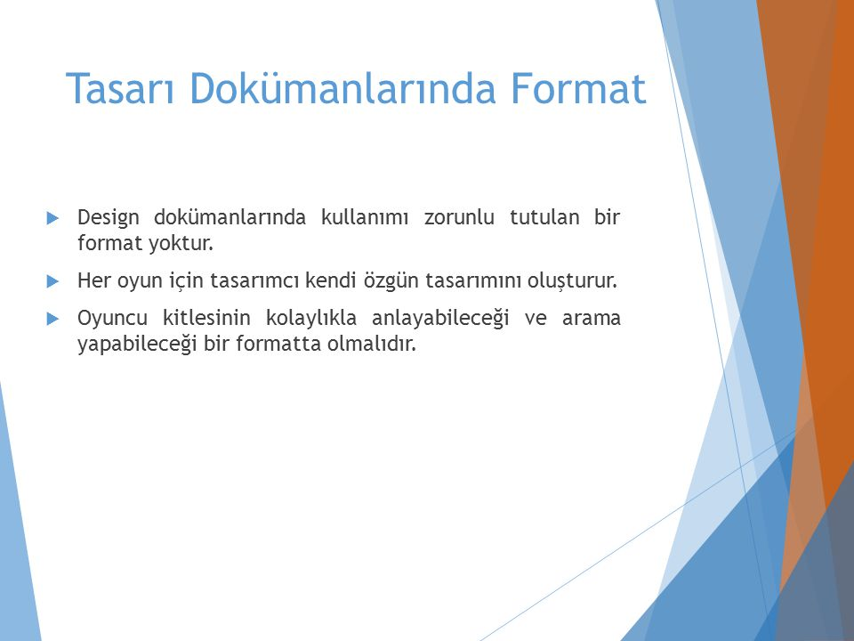 Tasarı Dokümanlarında Format