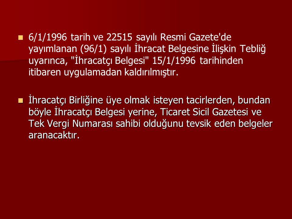 6/1/1996 tarih ve 22515 sayılı Resmi Gazete de yayımlanan (96/1) sayılı İhracat Belgesine İlişkin Tebliğ uyarınca, İhracatçı Belgesi 15/1/1996 tarihinden itibaren uygulamadan kaldırılmıştır.
