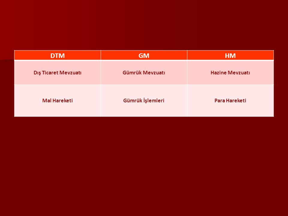 DTM GM HM Dış Ticaret Mevzuatı Gümrük Mevzuatı Hazine Mevzuatı