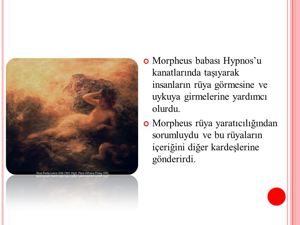 Morpheus babası Hypnos'u kanatlarında taşıyarak insanların rüya görmesine ve uykuya girmelerine yardımcı olurdu.
