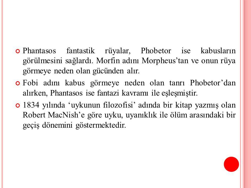 Phantasos fantastik rüyalar, Phobetor ise kabusların görülmesini sağlardı. Morfin adını Morpheus'tan ve onun rüya görmeye neden olan gücünden alır.