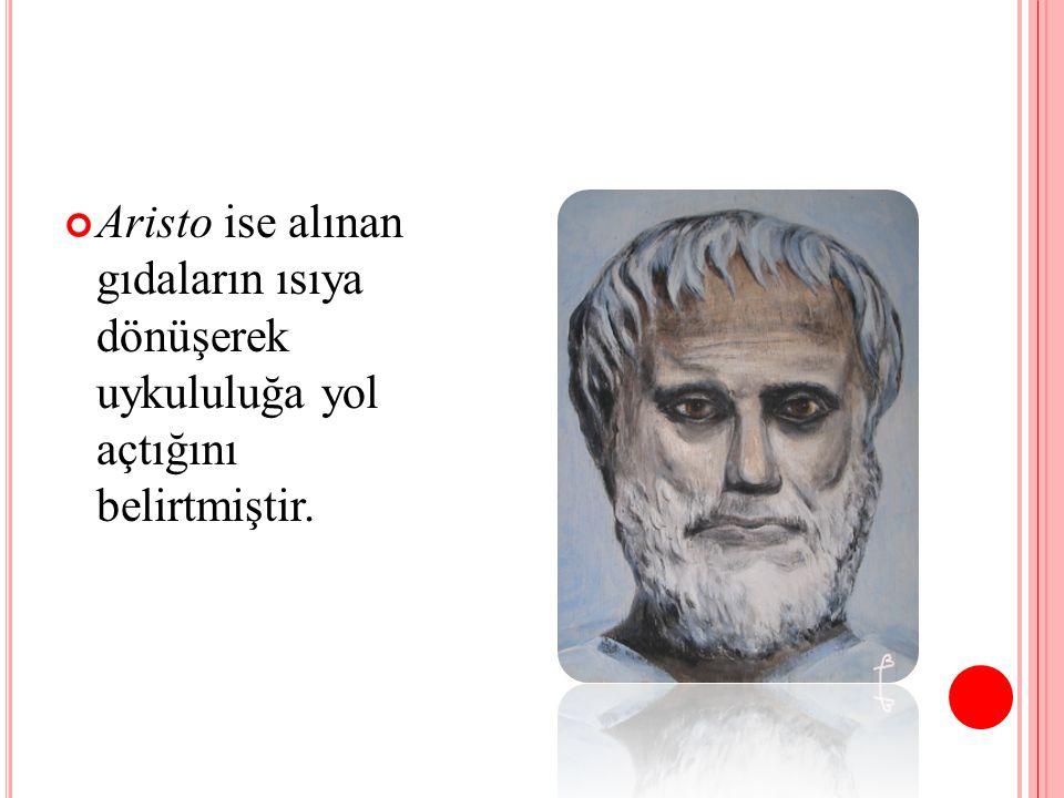 Aristo ise alınan gıdaların ısıya dönüşerek uykululuğa yol açtığını belirtmiştir.