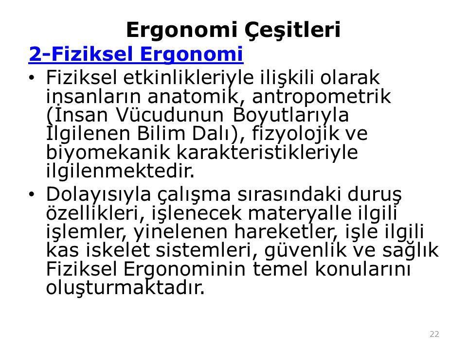 Ergonomi Çeşitleri 2-Fiziksel Ergonomi