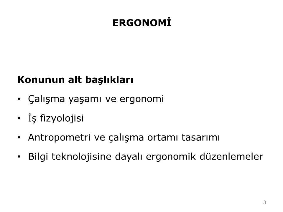 ERGONOMİ Konunun alt başlıkları. Çalışma yaşamı ve ergonomi. İş fizyolojisi. Antropometri ve çalışma ortamı tasarımı.