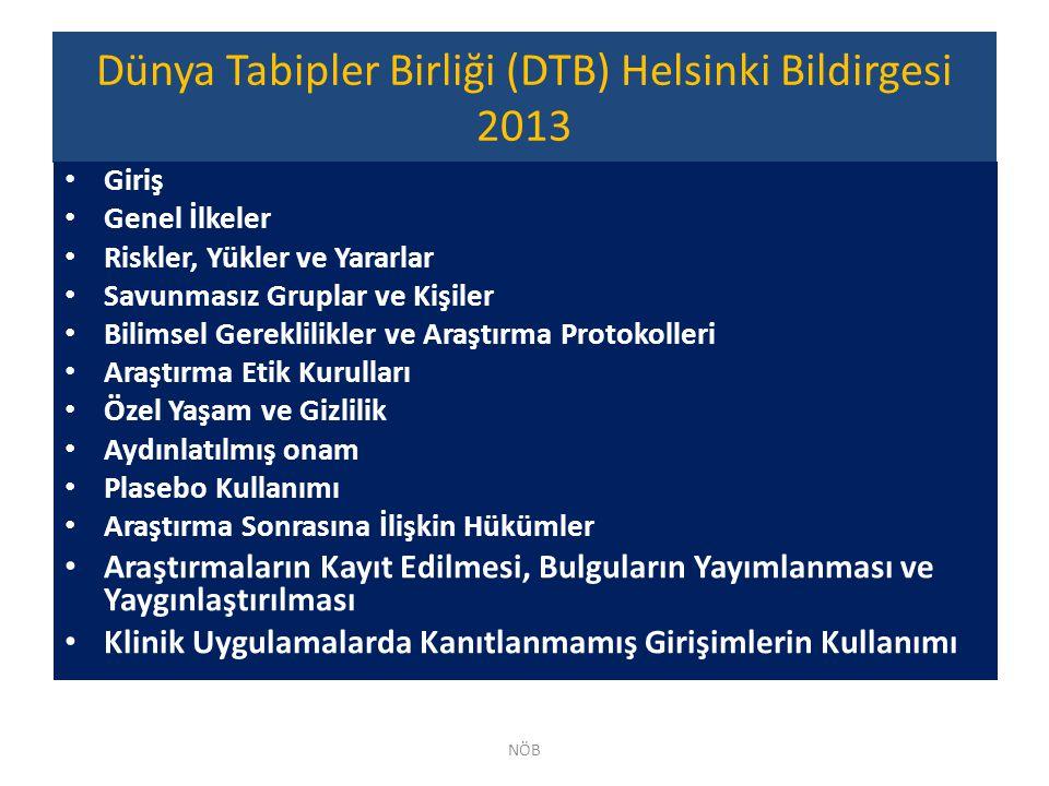 Dünya Tabipler Birliği (DTB) Helsinki Bildirgesi 2013