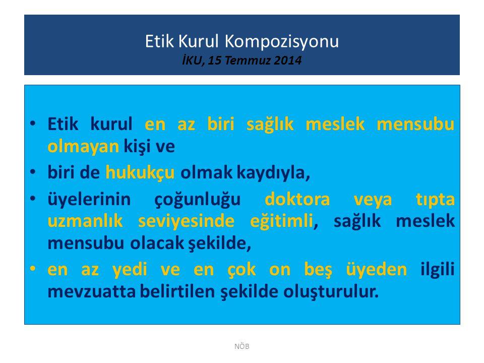 Etik Kurul Kompozisyonu İKU, 15 Temmuz 2014