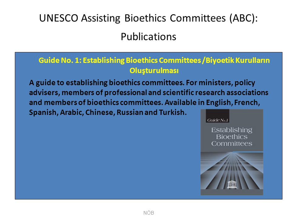 UNESCO Assisting Bioethics Committees (ABC): Publications