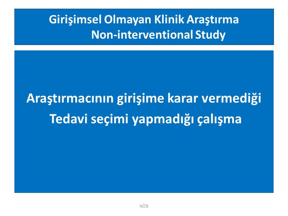 Girişimsel Olmayan Klinik Araştırma Non-interventional Study
