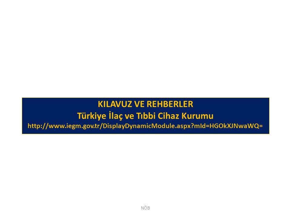 KILAVUZ VE REHBERLER Türkiye İlaç ve Tıbbi Cihaz Kurumu http://www