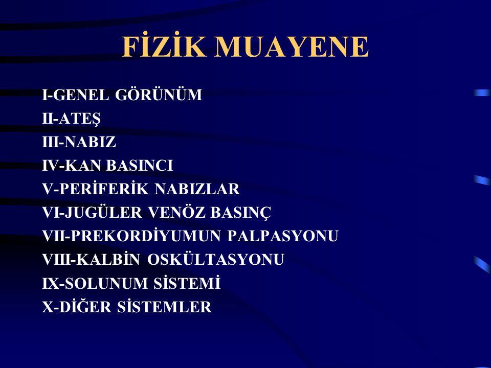 FİZİK MUAYENE I-GENEL GÖRÜNÜM II-ATEŞ III-NABIZ IV-KAN BASINCI