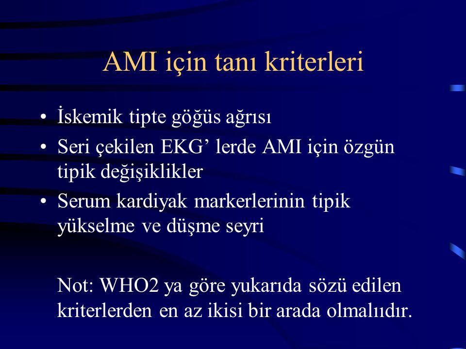 AMI için tanı kriterleri
