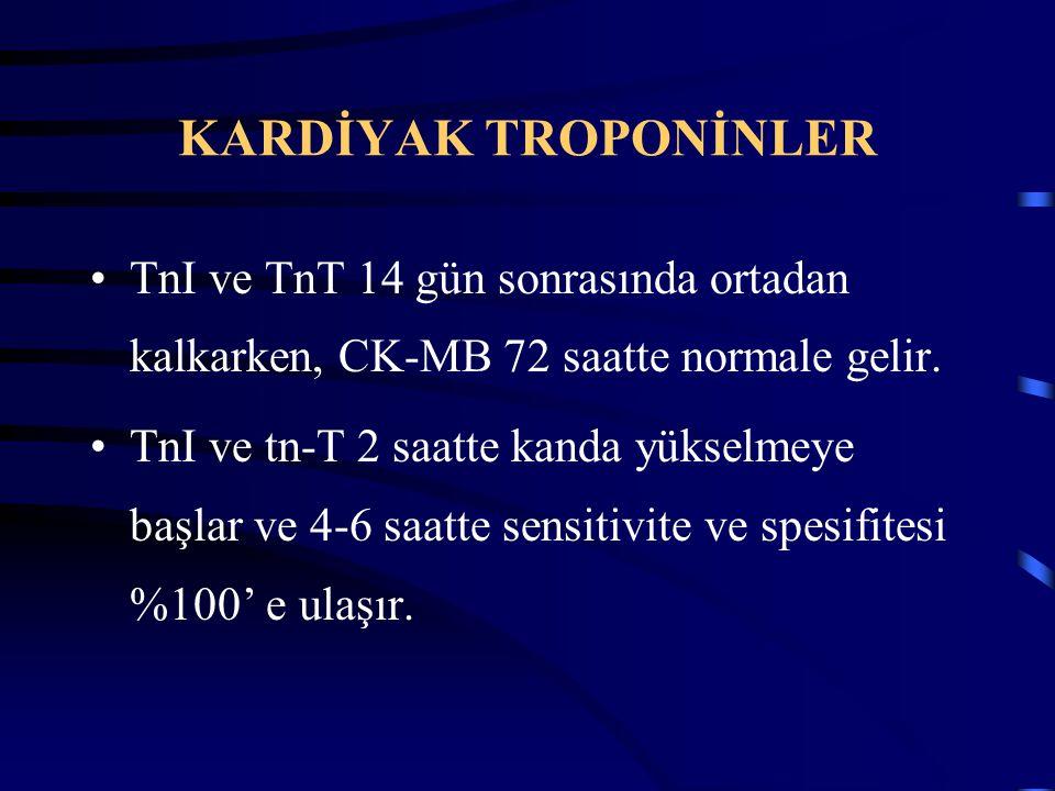 KARDİYAK TROPONİNLER TnI ve TnT 14 gün sonrasında ortadan kalkarken, CK-MB 72 saatte normale gelir.