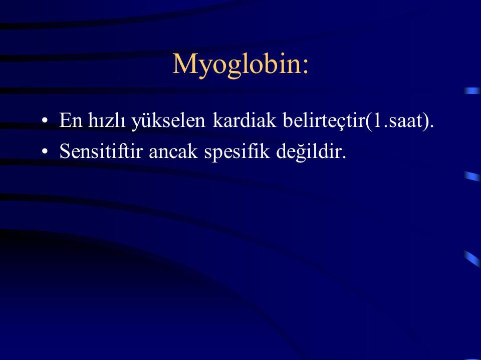 Myoglobin: En hızlı yükselen kardiak belirteçtir(1.saat).