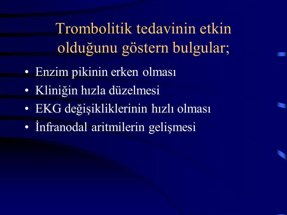 Trombolitik tedavinin etkin olduğunu göstern bulgular;
