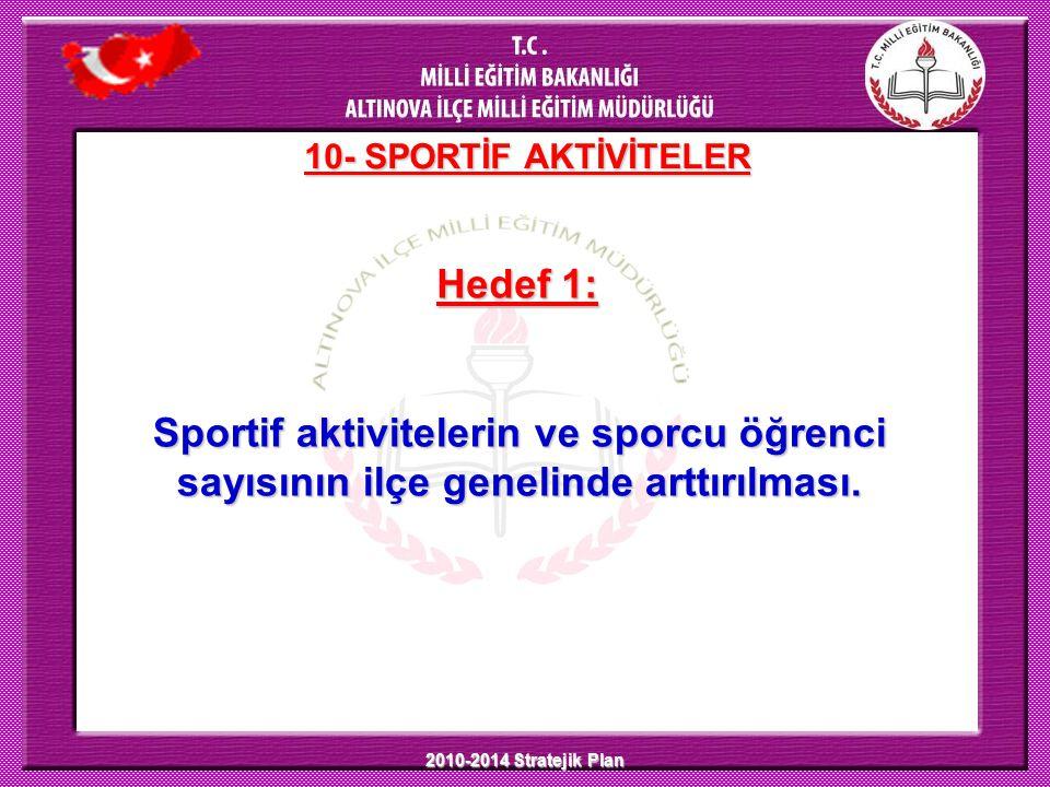 10- SPORTİF AKTİVİTELER Hedef 1: Sportif aktivitelerin ve sporcu öğrenci sayısının ilçe genelinde arttırılması.