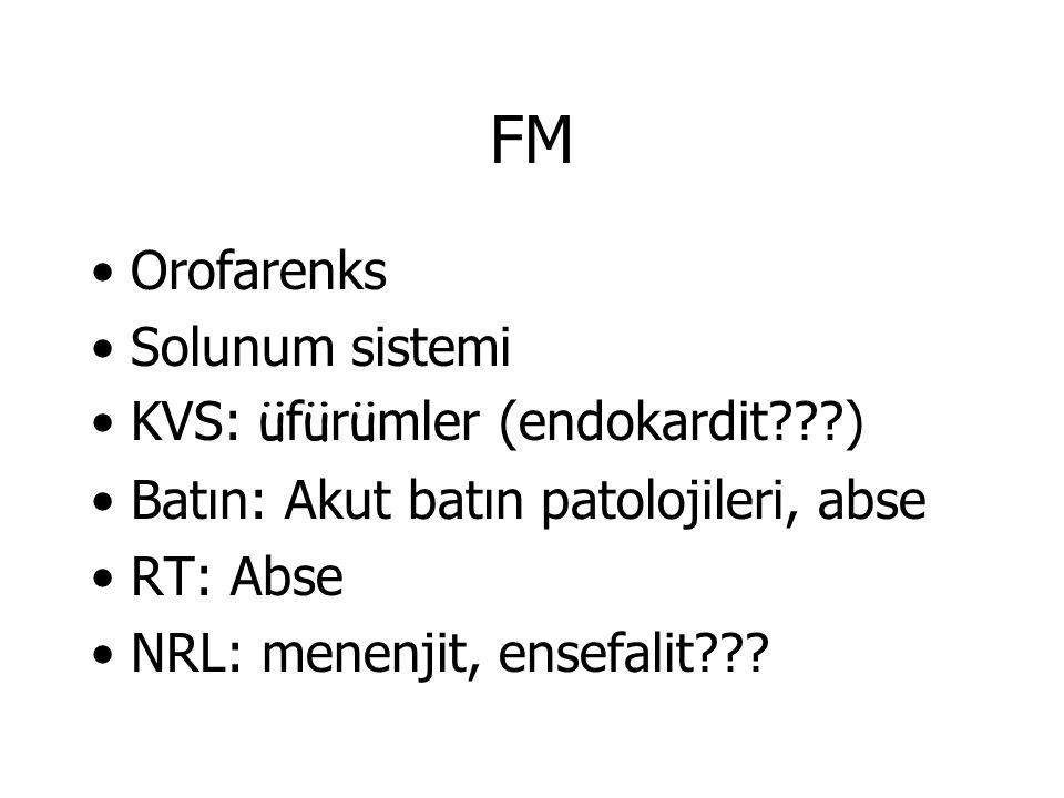 FM Orofarenks Solunum sistemi KVS: üfürümler (endokardit )