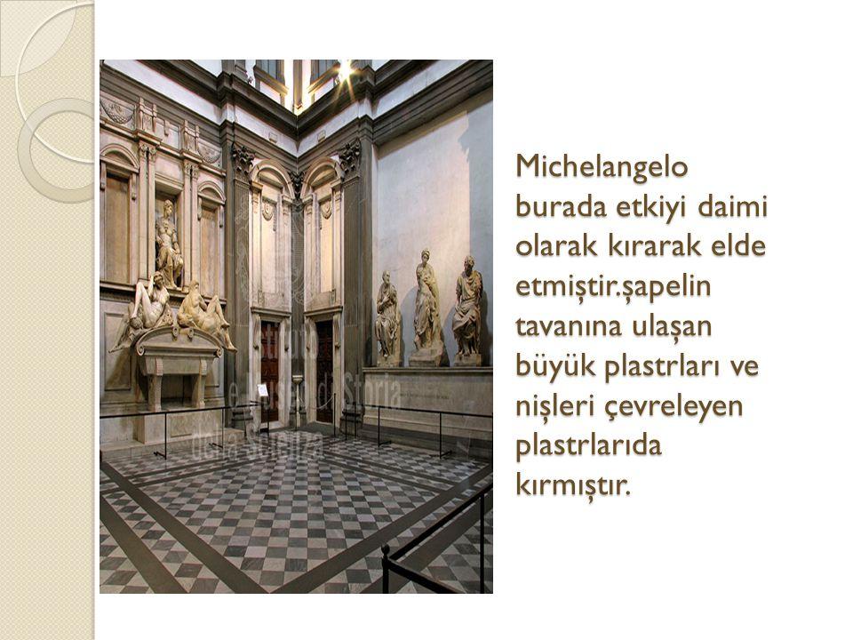 Michelangelo burada etkiyi daimi olarak kırarak elde etmiştir
