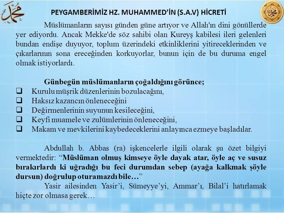 PEYGAMBERİMİZ HZ. MUHAMMED'İN (S.A.V) HİCRETİ