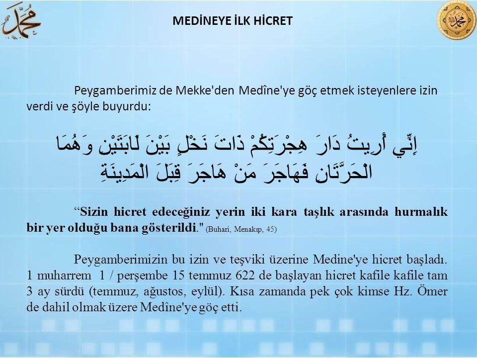 MEDİNEYE İLK HİCRET Peygamberimiz de Mekke den Medîne ye göç etmek isteyenlere izin verdi ve şöyle buyurdu: