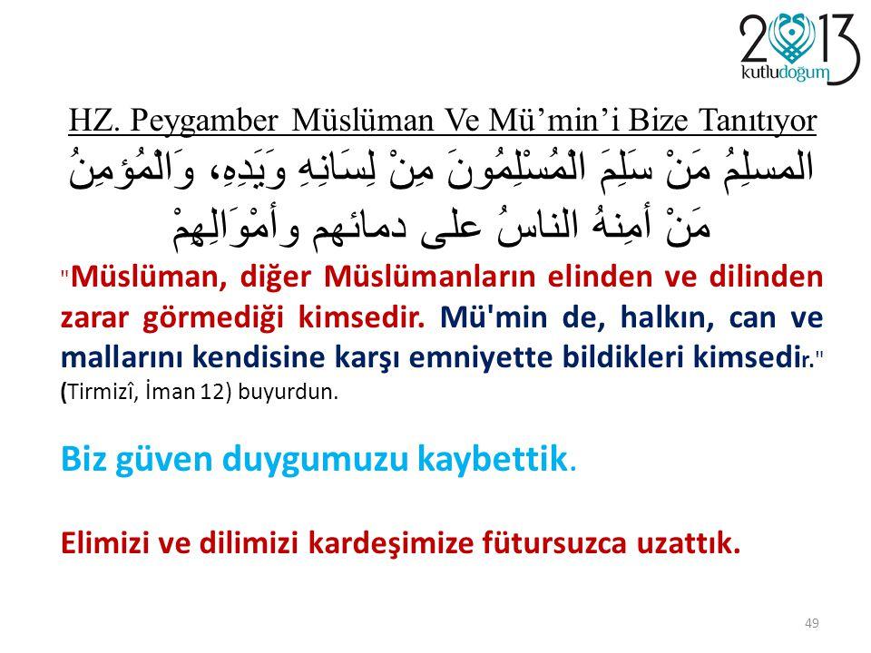 HZ. Peygamber Müslüman Ve Mü'min'i Bize Tanıtıyor