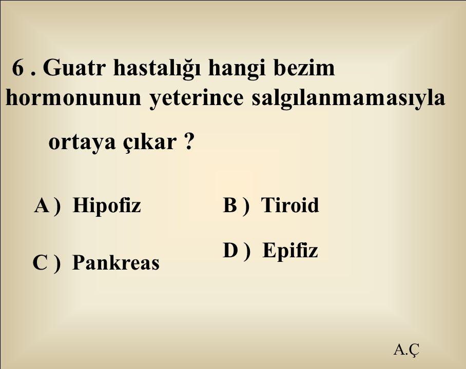 ortaya çıkar A ) Hipofiz B ) Tiroid D ) Epifiz A.Ç